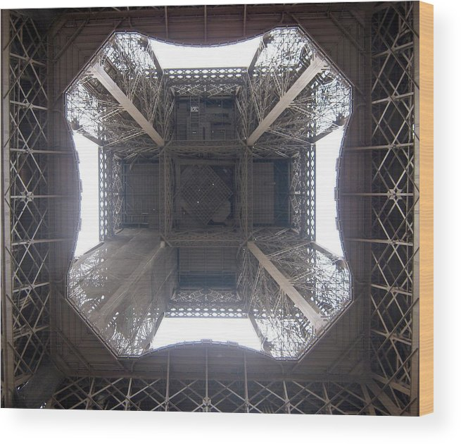 Eiffel Wood Print featuring the photograph Under Eiffel by Menucha Citron