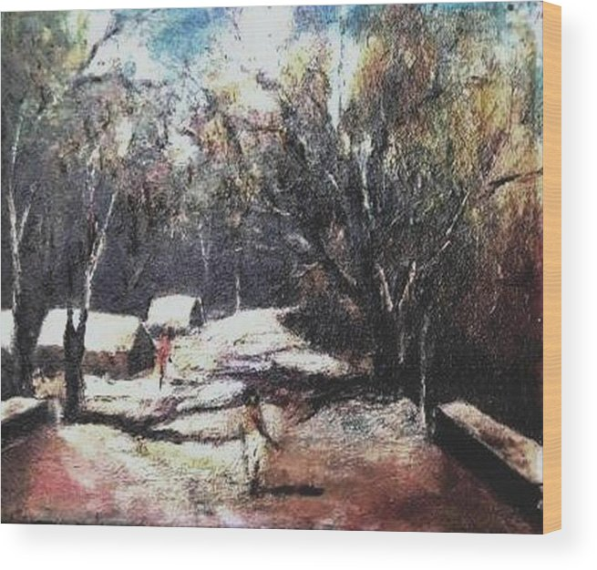 Landscape Wood Print featuring the painting Village Road-3 by Prakash Sree S N