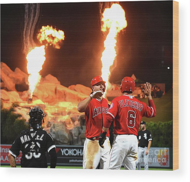 People Wood Print featuring the photograph Chicago White Sox V Los Angeles Angels by Jayne Kamin-oncea
