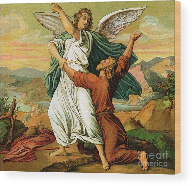 Jacob Wood Print featuring the photograph Jacob Wrestiling With The Angel by English School