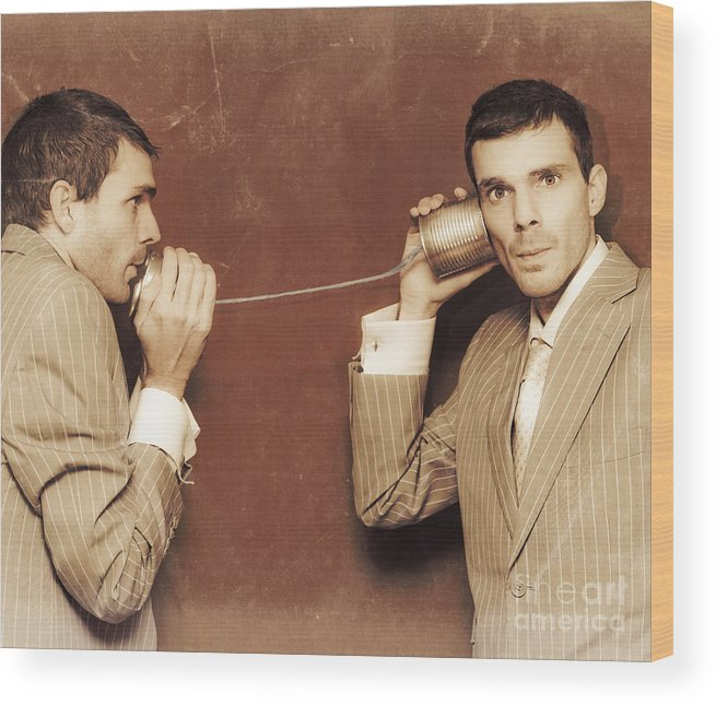 Advice Wood Print featuring the photograph Vintage Business People Talking On Can Telephone by Jorgo Photography - Wall Art Gallery