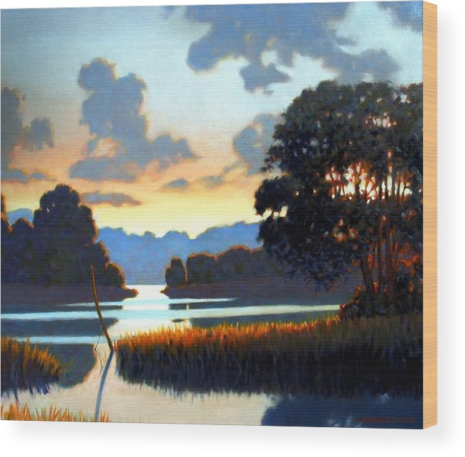 Landscape Wood Print featuring the painting Grassy Point by Kevin Lawrence Leveque