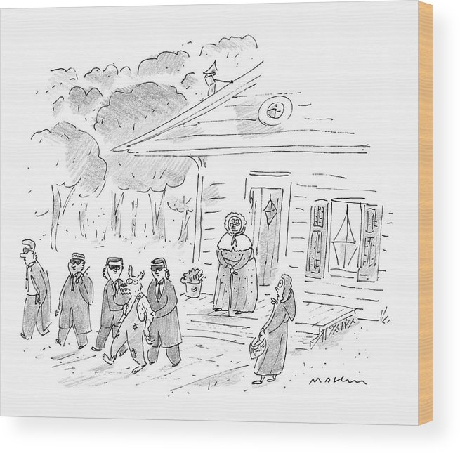 Home Security Wood Print featuring the drawing My, My, Grandma, What Tight Security You Have! by Michael Maslin