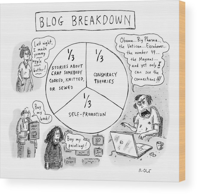 Blog Wood Print featuring the drawing A Pie Chart Titled Blog Breakdown Is Divided by Roz Chast