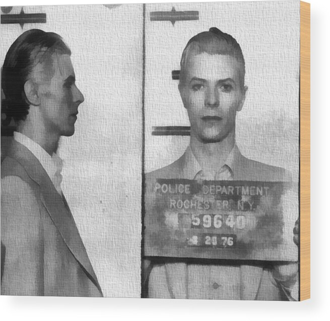 David Bowie Mug Shot Wood Print featuring the photograph David Bowie Mug Shot by Dan Sproul