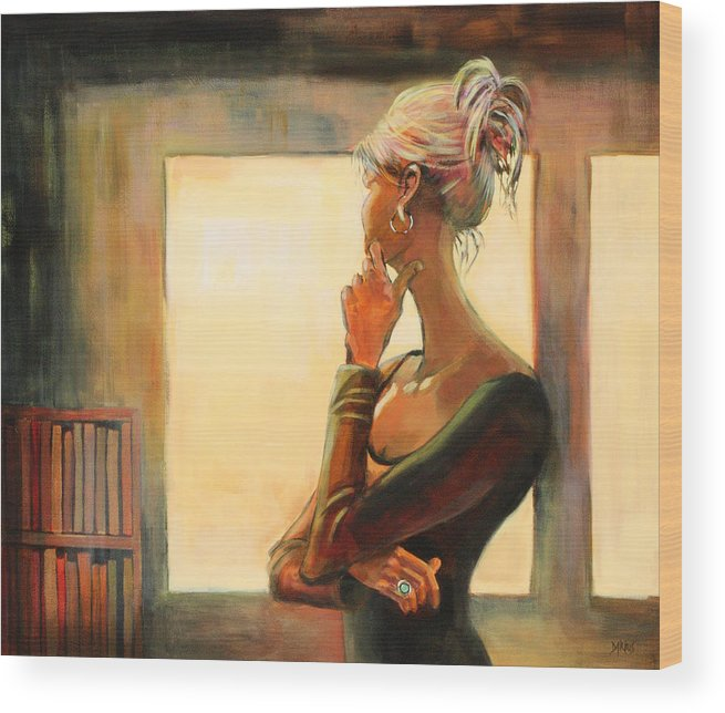 Woman Wood Print featuring the painting Daydreaming by Sue Darius
