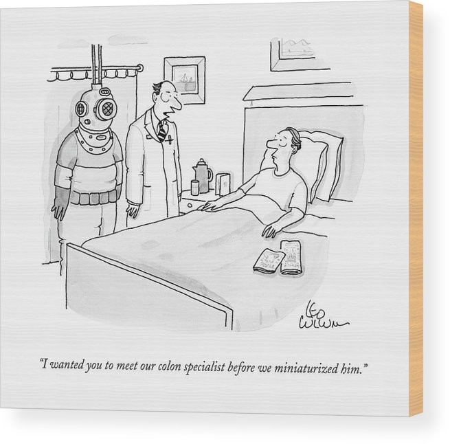 Caption Contest Wood Print featuring the drawing Doctor Speaks To Patient. A Scuba Diver Stands by Leo Cullum