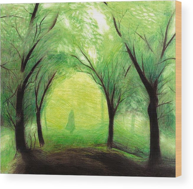 Nature Wood Print featuring the drawing Eire by Ilias Patrinos