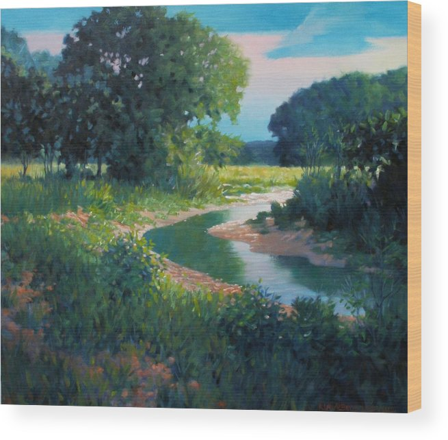 Landscape Wood Print featuring the painting First Light by Kevin Lawrence Leveque