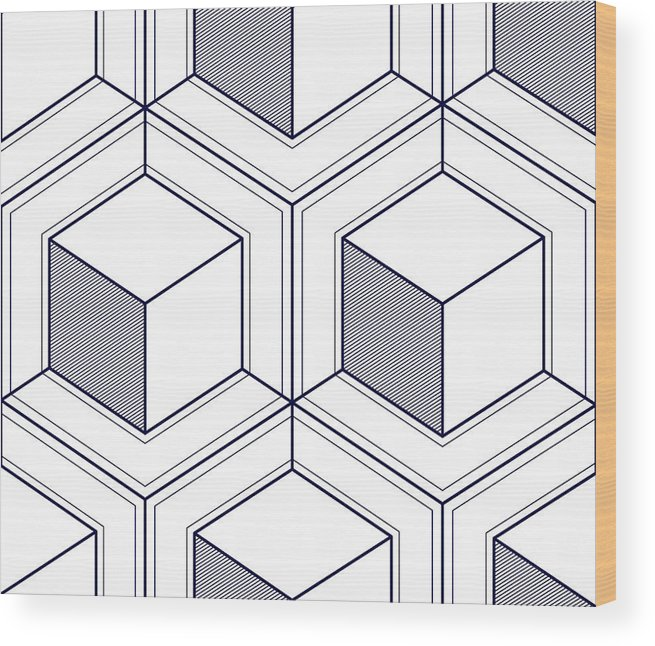 Geometric 3d Lines Abstract Seamless Pattern, Vector Background  Technology  Style Engineering Line Drawing Endless Illustration  Single Color, Black