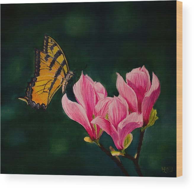 Magnolia Wood Print featuring the painting Magnolia And Butterfly by Subhadra Sarkar