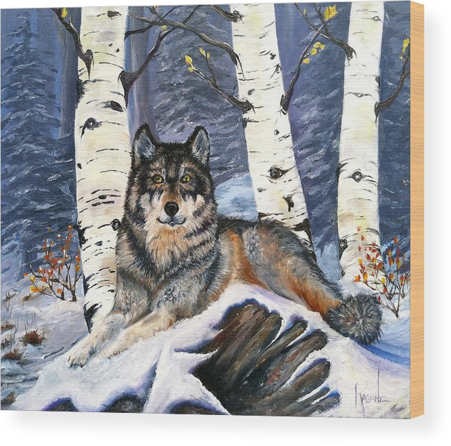 Wolf Wood Print featuring the painting Silent Watch by Patricia Ragone