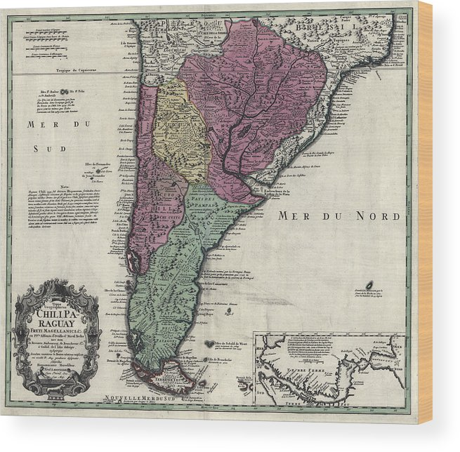 Southern South America Map 1733 Wood Print on