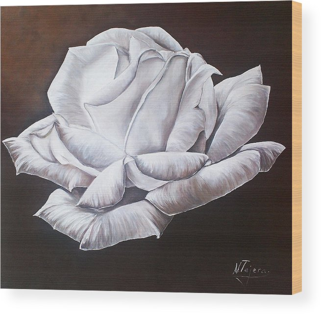 Still Life Wood Print featuring the painting Light In The Darkness by Natalia Tejera