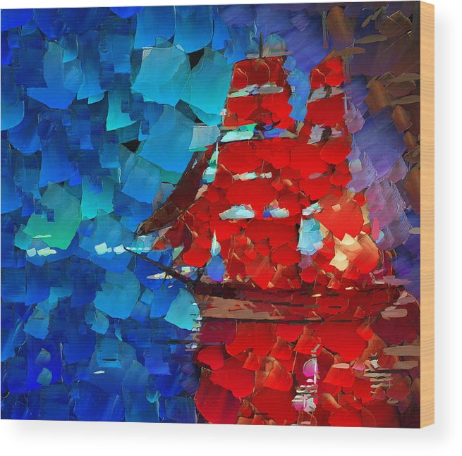 Ship Wood Print featuring the digital art Red Sail by Yury Malkov