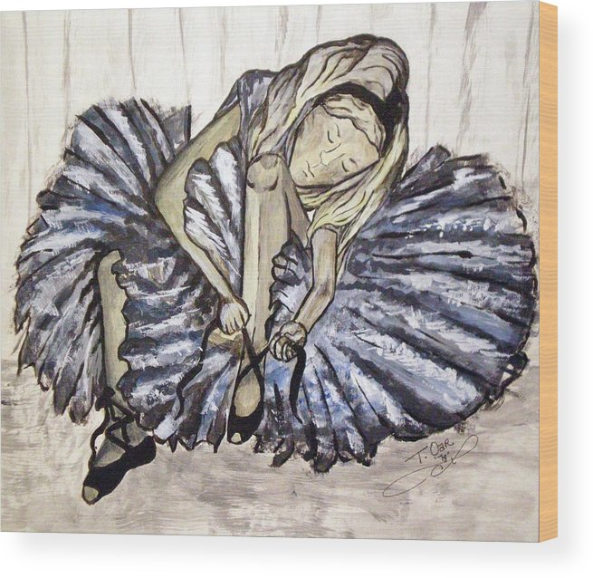 Ballet Wood Print featuring the painting Ballerina Girl by Tammera Malicki-Wong