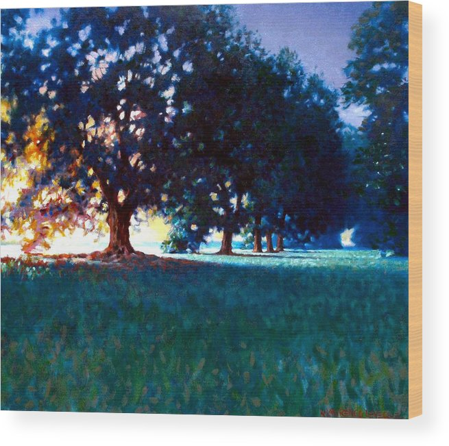 Oak Wood Print featuring the painting Five Oaks by Kevin Lawrence Leveque