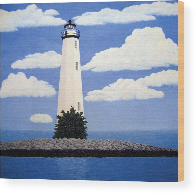 Lighthouse Paintings Wood Print featuring the painting New Point Comfort Lighthouse by Frederic Kohli