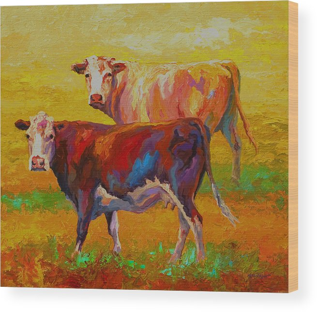 Cows Wood Print featuring the painting Two Cows by Marion Rose