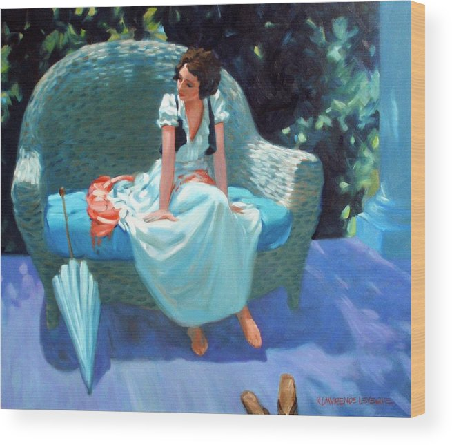 Girl Wood Print featuring the painting Waiting For The Artist by Kevin Lawrence Leveque
