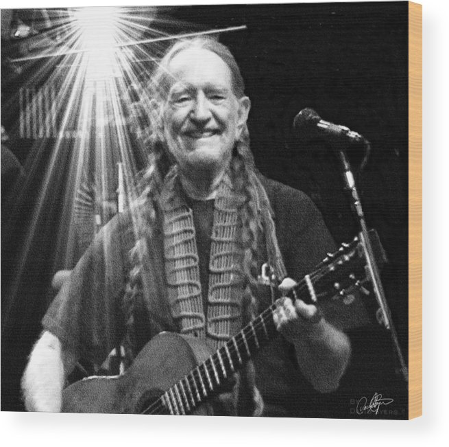 Willie Nelson Wood Print featuring the digital art American Icon - Willie Nelson by David Syers