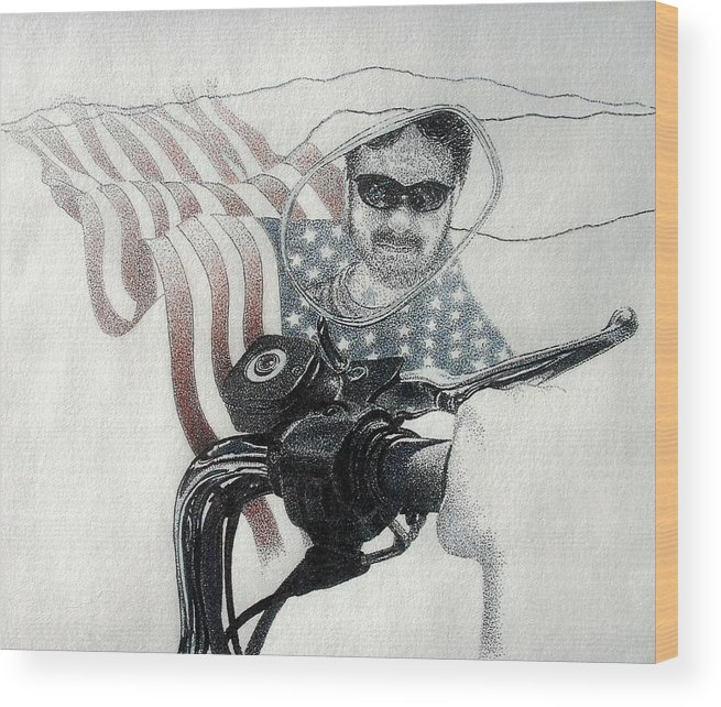 Motorcycles Harley American Flag Cycles Biker Wood Print featuring the drawing American Rider by Tony Ruggiero