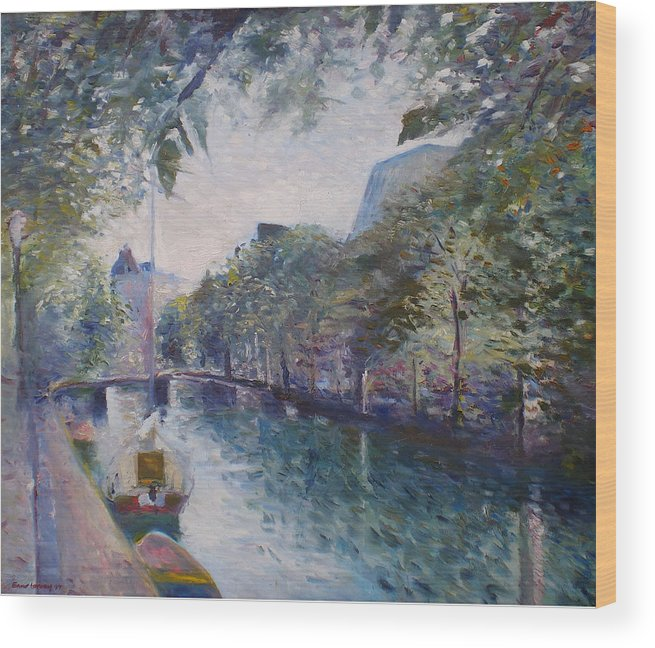 Amsterdam Wood Print featuring the painting Amsterdam Holland 1997. by Enver Larney