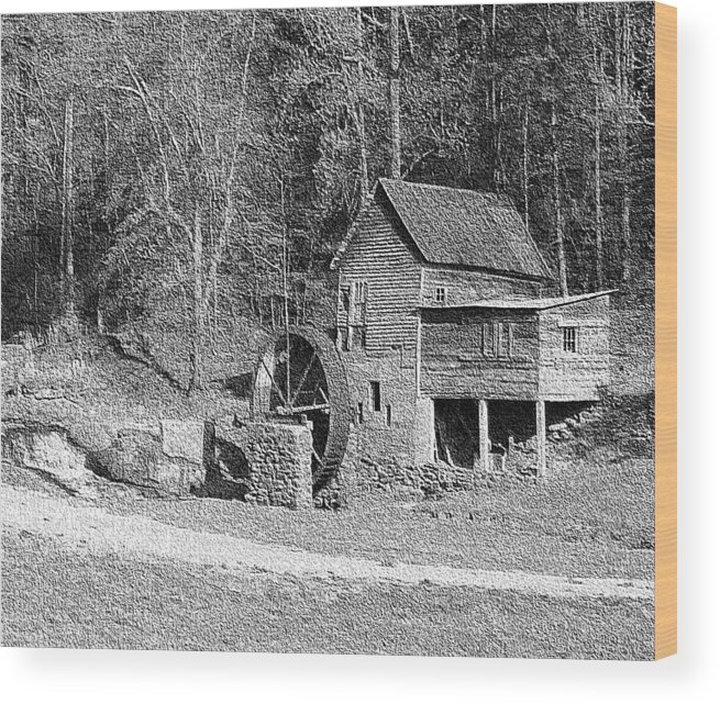 Black And White Landscape Of A Rustic Grist Mill Wood Print featuring the photograph Arrendale Mill by Steve Carpenter