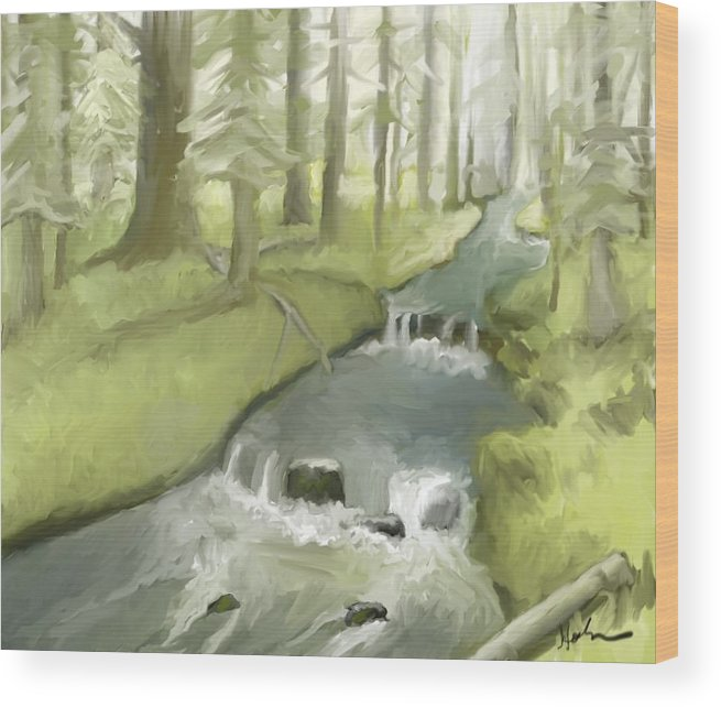 Stream Wood Print featuring the painting As I Sat By A Brook And Pondered by Suryadas Joel Holliman