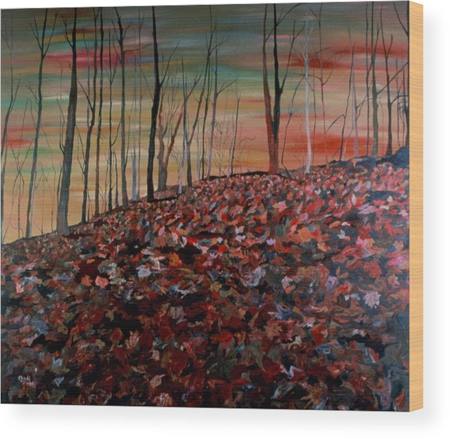 Landscape Wood Print featuring the painting Autumn by Oudi Arroni