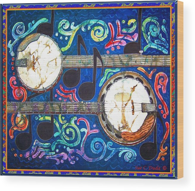 Banjo Wood Print featuring the painting Banjos - Bordered by Sue Duda