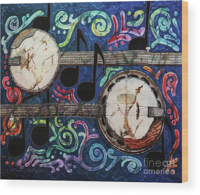 Banjos Wood Print featuring the painting Banjos by Sue Duda