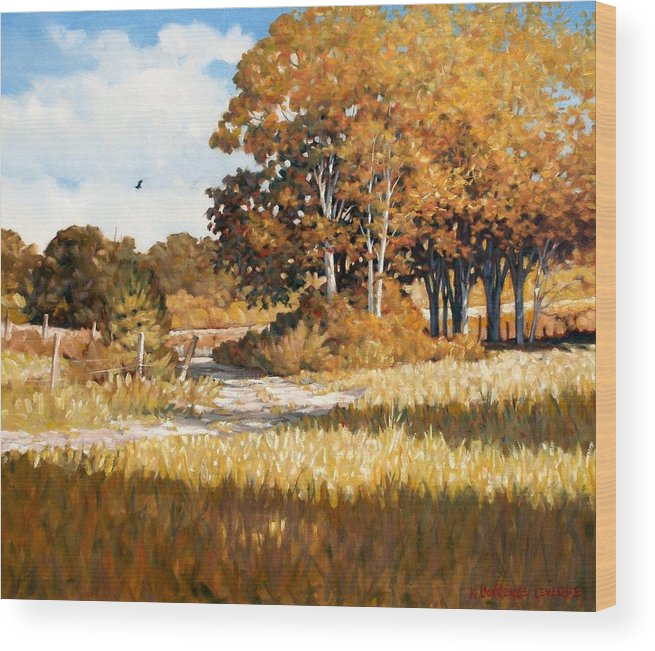 Landscape Wood Print featuring the painting Bend In The Road by Kevin Lawrence Leveque