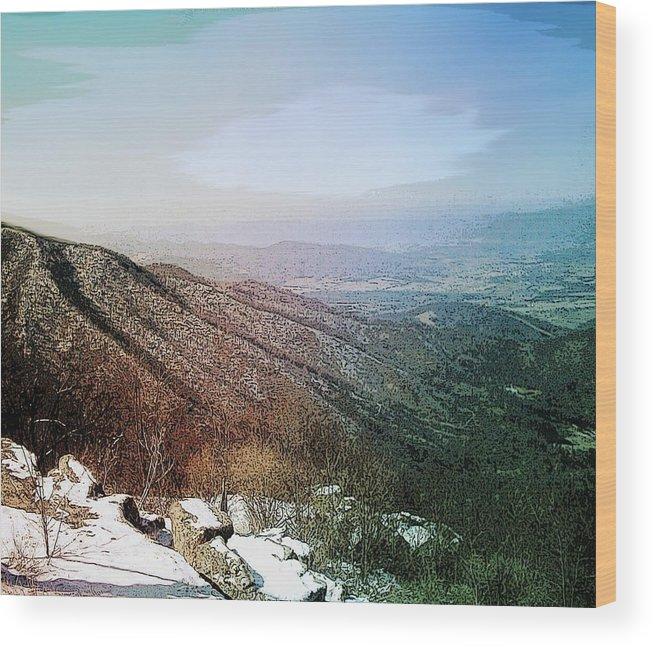 Blue Ridge Mountains Shenandoah Valley Virginia Usa Landscape Panorama Trees Rocks Snow Winter Sky. Wood Print featuring the photograph Blue Ridge by Susan Epps Oliver