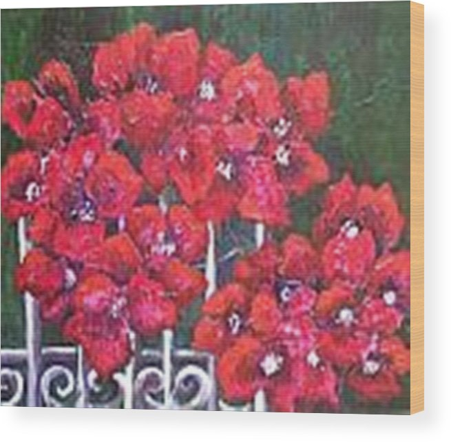 Wood Print featuring the painting Bounganvillia On Fence by Carol P Kingsley