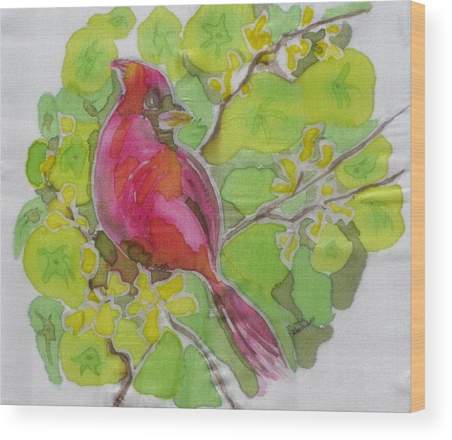 Bird Wood Print featuring the painting Cardinal In Palo Verde by Kathy Mitchell