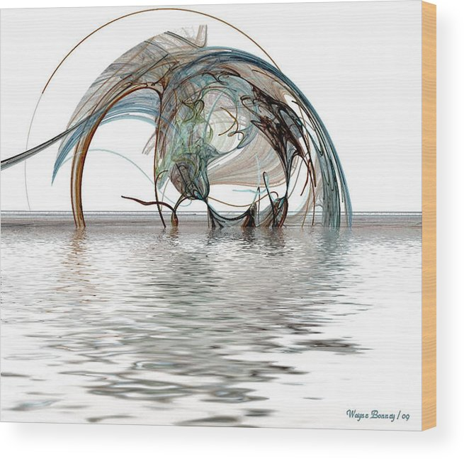 Digitalpaintings Wood Print featuring the painting Caught In A Net by Wayne Bonney