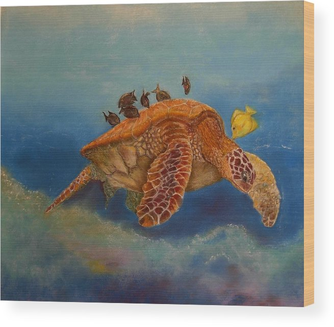 Turtle Wood Print featuring the painting Cleaning Station by Ceci Watson