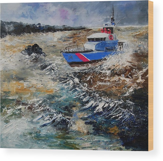 Sea Wood Print featuring the painting Coastguards by Pol Ledent