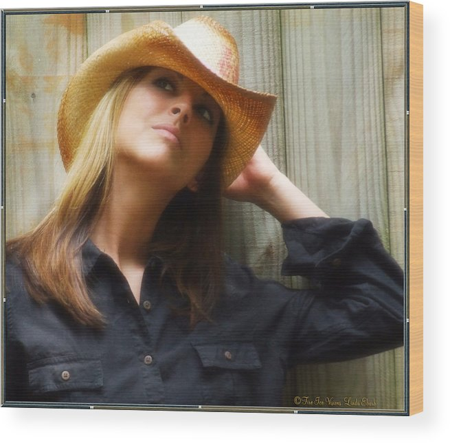 Cowgirl Wood Print featuring the photograph Cowgirl by Linda Ebarb