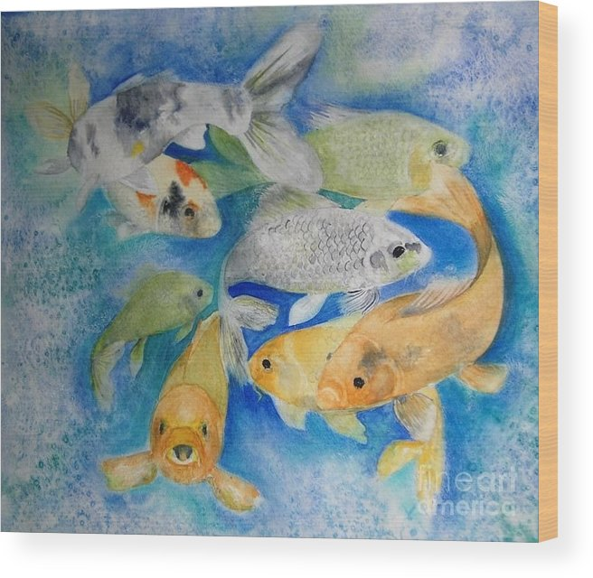 Water Wood Print featuring the painting Coy Koi by Vi Mosley