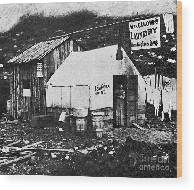 1900 Wood Print featuring the photograph Dawson City, C1900 by Granger