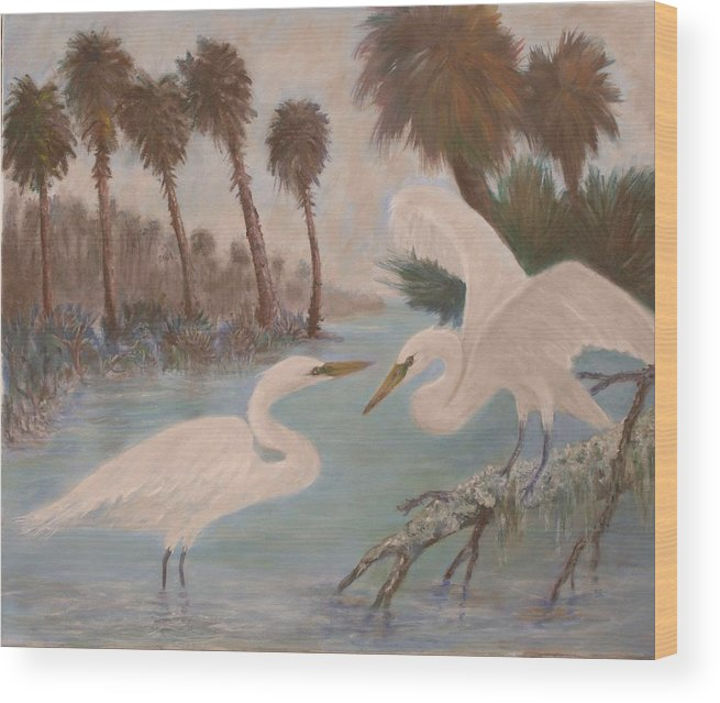 Egret Wood Print featuring the painting First Meeting by Ben Kiger