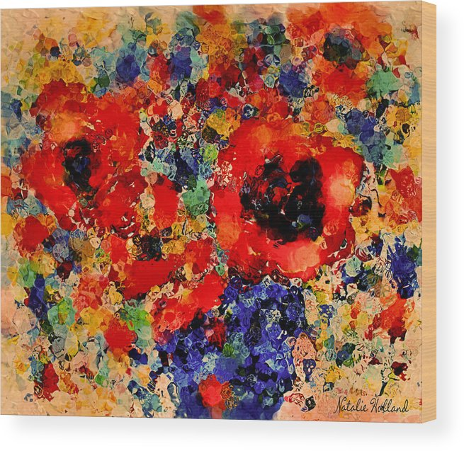 Red Flowers Wood Print featuring the mixed media Floral Happiness by Natalie Holland
