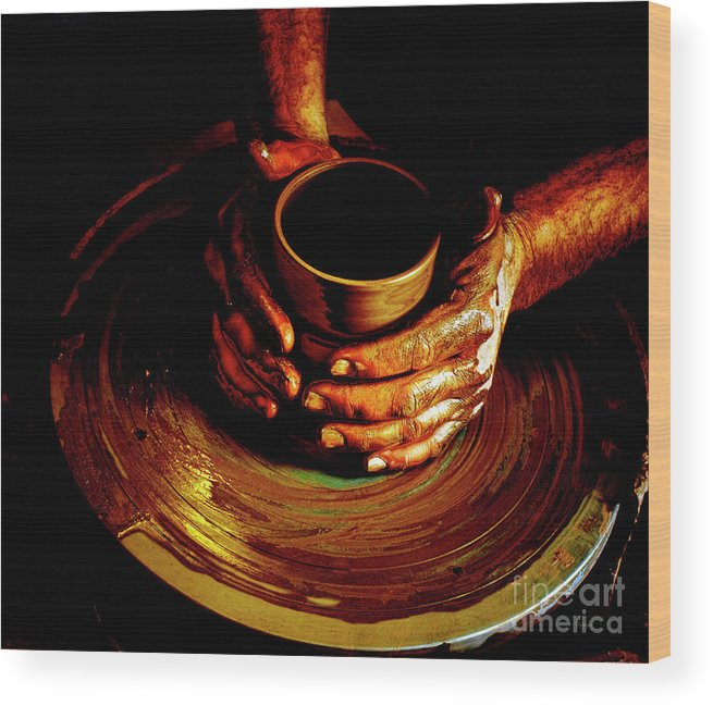 Pottery Wood Print featuring the photograph From The Hands Of An Artist by Steven Digman