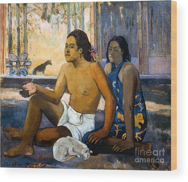 19th Century Wood Print featuring the photograph Gauguin:tahiti Women by Granger