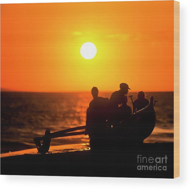 Hawai'i Wood Print featuring the photograph Kaanapali Beach Outrigger Sunset by Jim Cazel