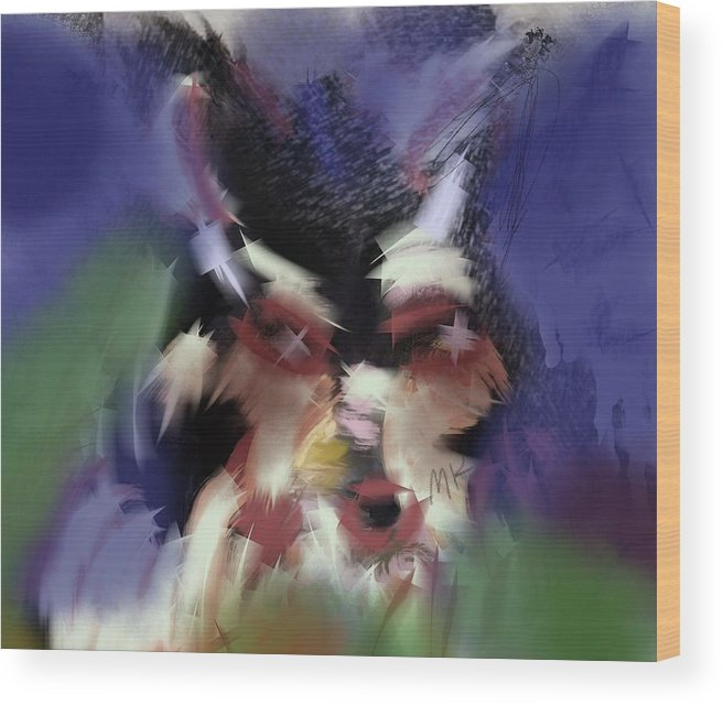 Dog Wood Print featuring the digital art Lucy by Mary Jo Hopton