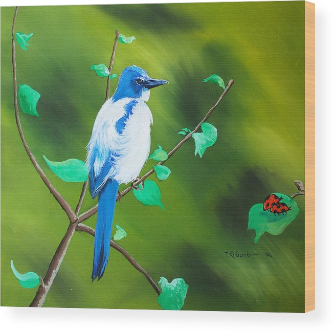 A Bluejay Eyeing Two Lady Bugs For Lunch Wood Print featuring the painting Lunch by Tom Kilbane