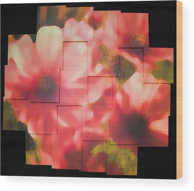 Flower Wood Print featuring the sculpture Nocturnal Pinks Photo Sculpture by Michael Bessler